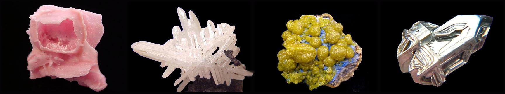 Rhodochrosite, Cerussite, Plumbogummite, Sylvanite