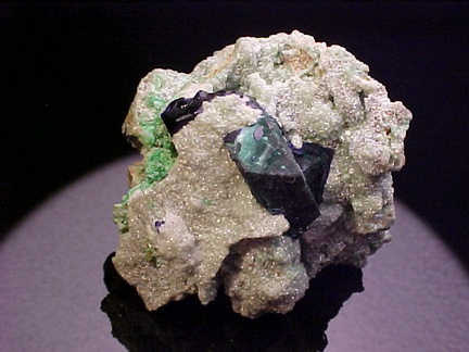Azurite & Malachite on Cuprian Smithsonite w/ Tsumebite - Tsumeb, Namibia