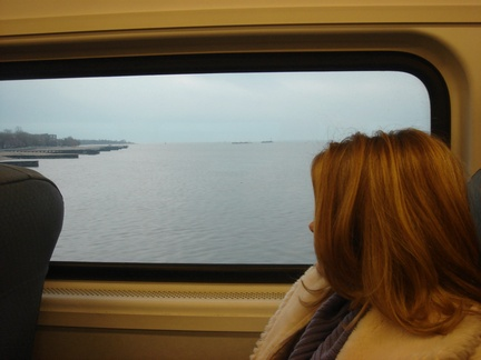 Mandy looking out at the Raritan Bay from the train