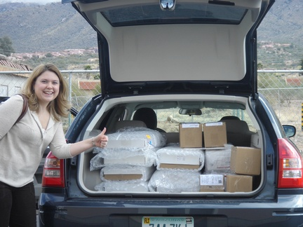 Mandy with the packed up car
