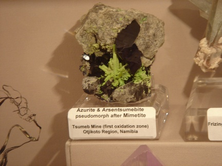 Azurite & Arsentsumebite after Mimetite - Tsumeb, Namibia