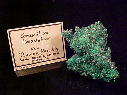 Cerussite with Malachite - Tsumeb